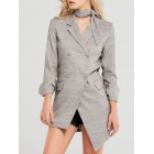 Light Gray Lapel Checkered/plaid Asymmetrical Work Blazer