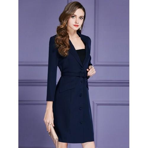 Dark Blue Buttoned Sheath Long Sleeve Blazers