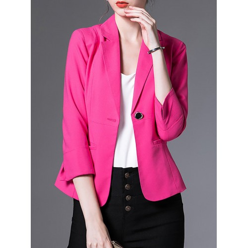 Casual 3/4 Sleeve Lapel Solid Blazer
