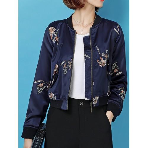 Dark Blue Crew Neck Shift Zipper Floral-embroidered Bomber Jacket