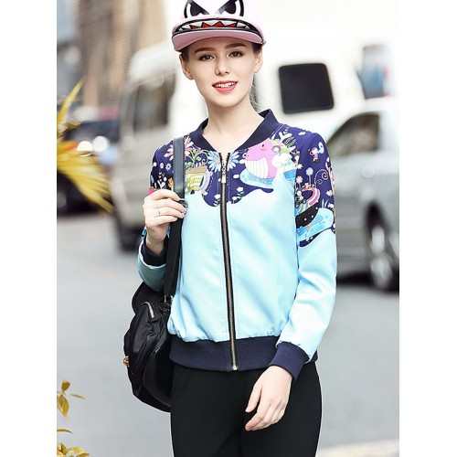 Blue Printed Zipper Casual Bomber Jackets