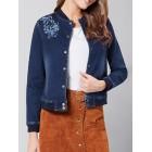 Blue H-line Embroidered Long Sleeve Denim Cropped Jacket