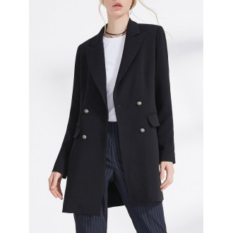 Black Solid Long Sleeve Blazer