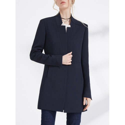 Dark blue Black Solid Long Sleeve Pockets Simple Stand Collar H-line Buttoned Blazer