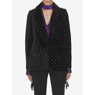 Black Velvet Shawl Collar Polka Dots Beaded Buttoned Blazer