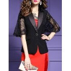 Black Work Half Sleeve Shift Lapel Blazer