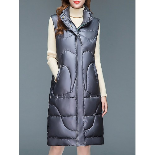 Stand Collar Zipper Buttoned Pockets Vests And Gilets