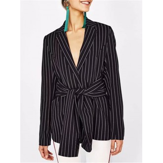 Black Work Casual Striped Long Sleeve Shift Blazer