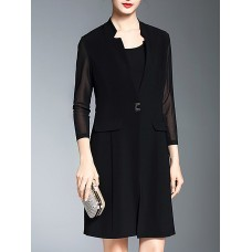 Black 3/4 Sleeve Pleated Buttoned Stand Collar Blazer
