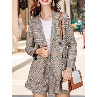 Gray Checkered/Plaid Long Sleeve Shift Blazer