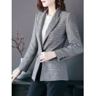 Gray Checkered/plaid  Work Pockets Shift Blazers