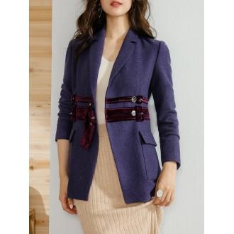 Purple Lapel Blend Casual Blazer