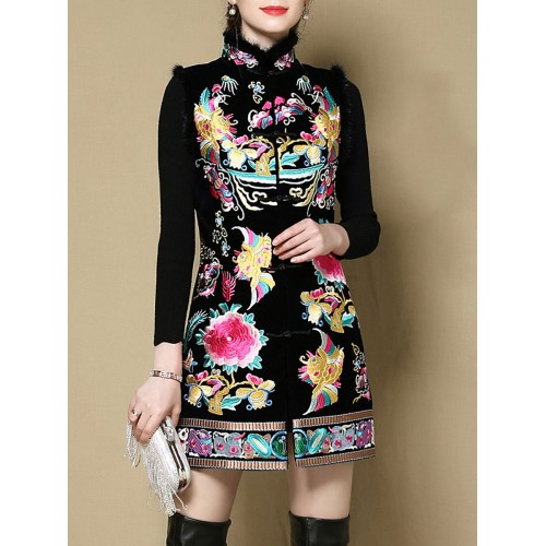 Black Paneled Floral Embroidered Vests and Gilet
