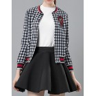 White-Blue Long Sleeve Casual Gingham Bomber Jacket
