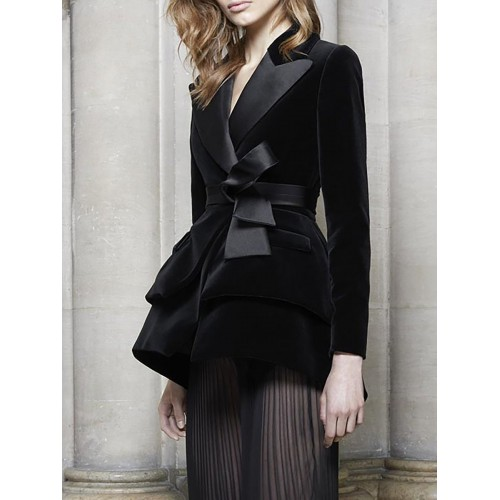 Black Velvet Solid Pockets Lapel Tiered Buttoned Blazer