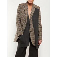 Brown Checkered Long Sleeve Paneled Blazer