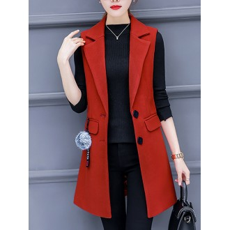 Lapel Sleeveless Buttoned Pockets Vests and Gilet