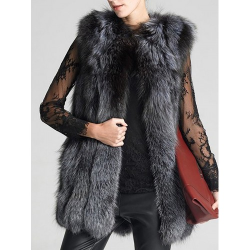 Gray Shift Shawl Collar Casual Faux Fur Vests and Gilet