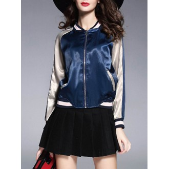 Floral-embroidered Casual Long Sleeve Bomber Jacket