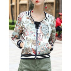Multicolor Stand Collar Long Sleeve Bomber Jacket